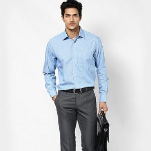 san-pham-4-1-300x300 Checked Blue Shirt & Dark Gray Chino Pants is wise section for your office