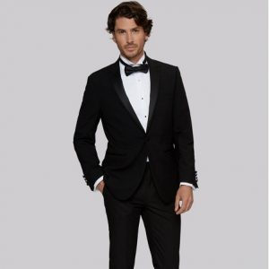 sanpham-1-1-300x300 Tailored Fit Black Satin Peak Lapel Tuxedo
